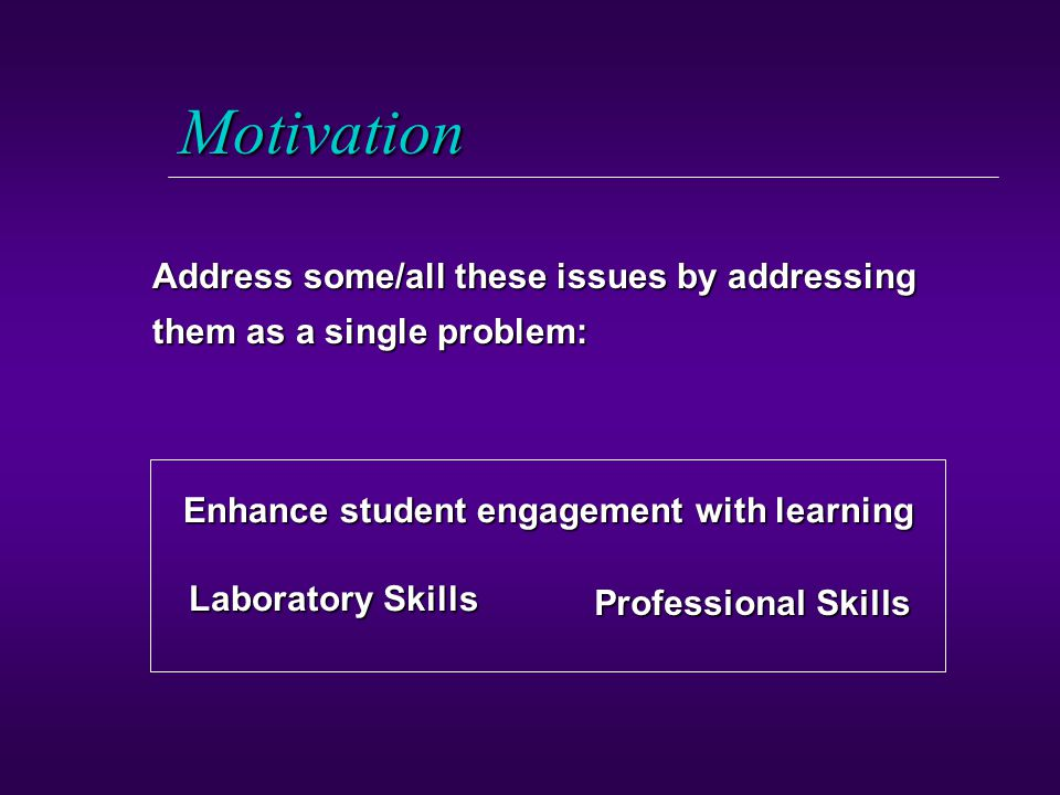 Motivation Address some/all these issues by addressing them as a single problem: Professional Skills Laboratory Skills Enhance student engagement with learning