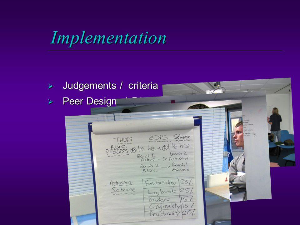 Implementation  Judgements / criteria  Peer Designed PA