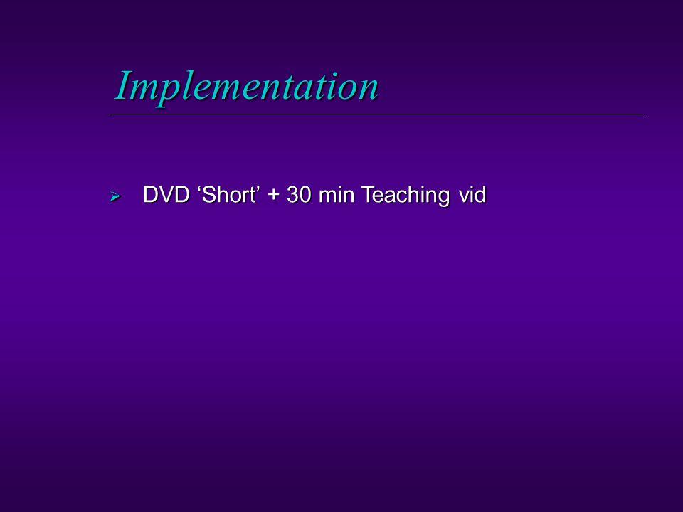 Implementation  DVD 'Short' + 30 min Teaching vid