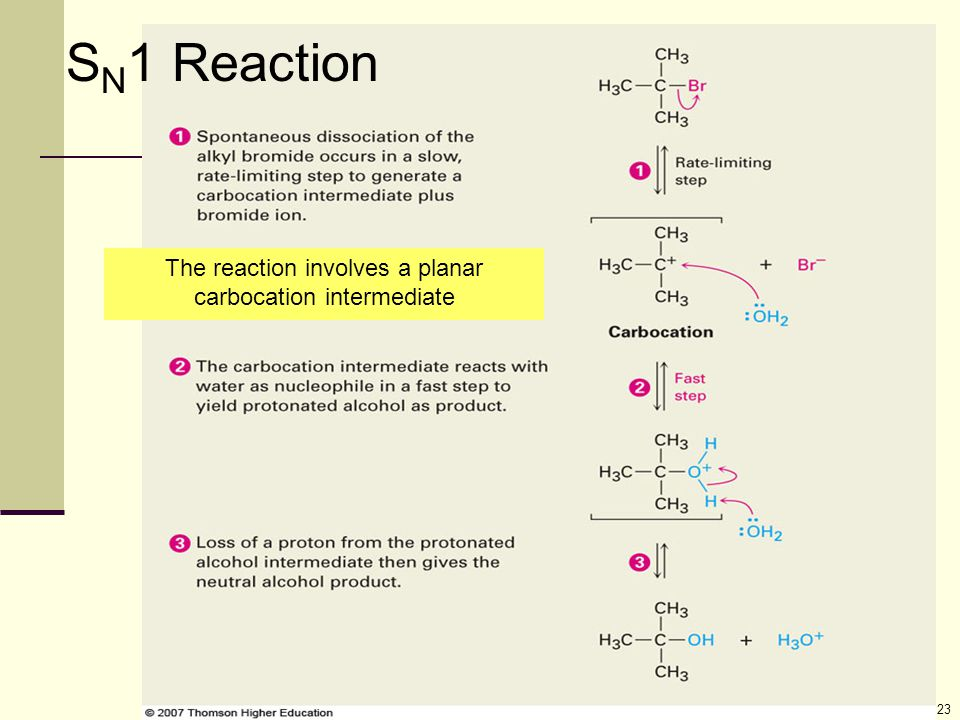23 S N 1 Reaction The reaction involves a planar carbocation intermediate