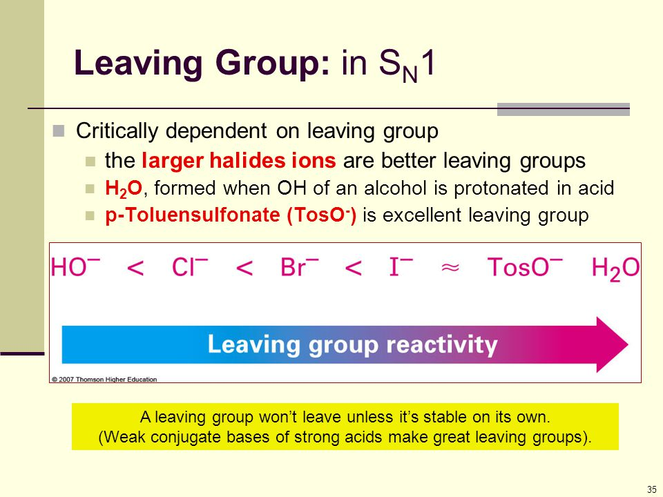 35 Leaving Group: in S N 1 Critically dependent on leaving group the larger halides ions are better leaving groups H 2 O, formed when OH of an alcohol