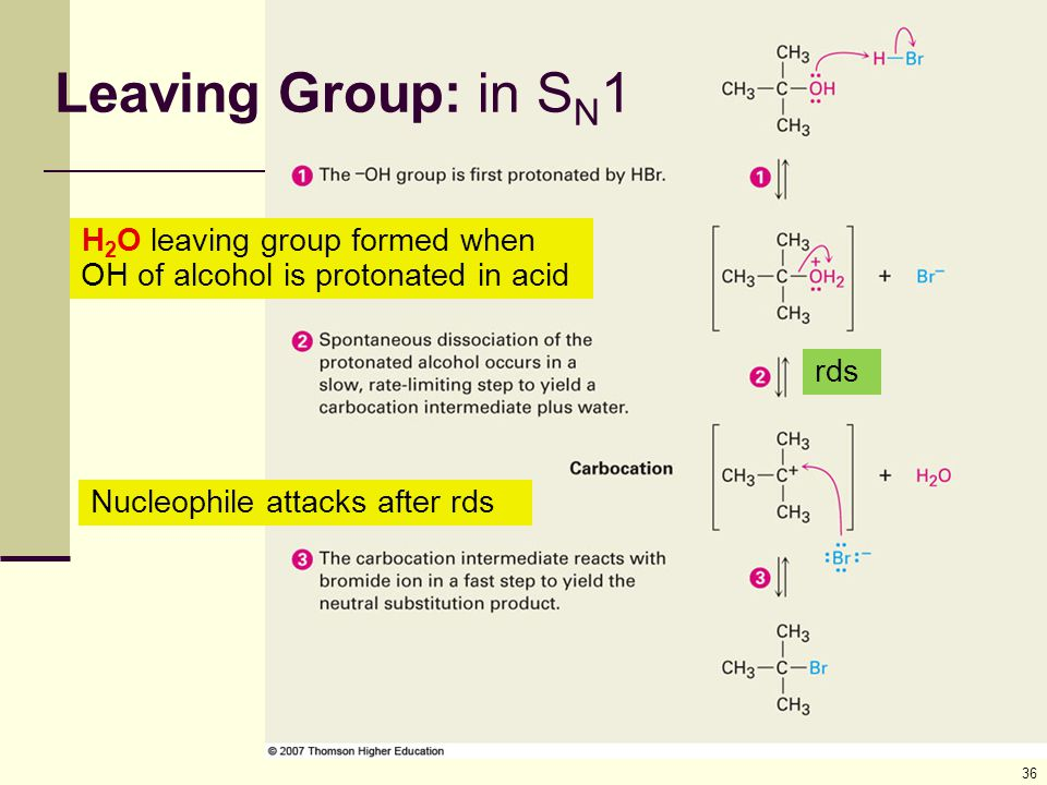 36 Leaving Group: in S N 1 H 2 O leaving group formed when OH of alcohol is protonated in acid Nucleophile attacks after rds rds