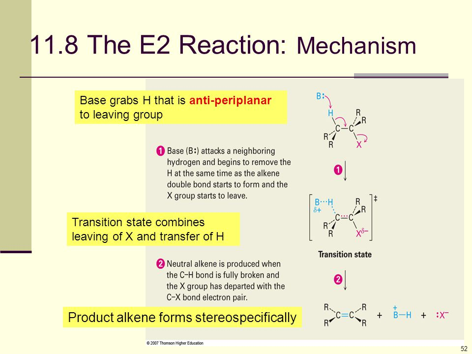 52 11.8 The E2 Reaction: Mechanism Product alkene forms stereospecifically Transition state combines leaving of X and transfer of H Base grabs H that