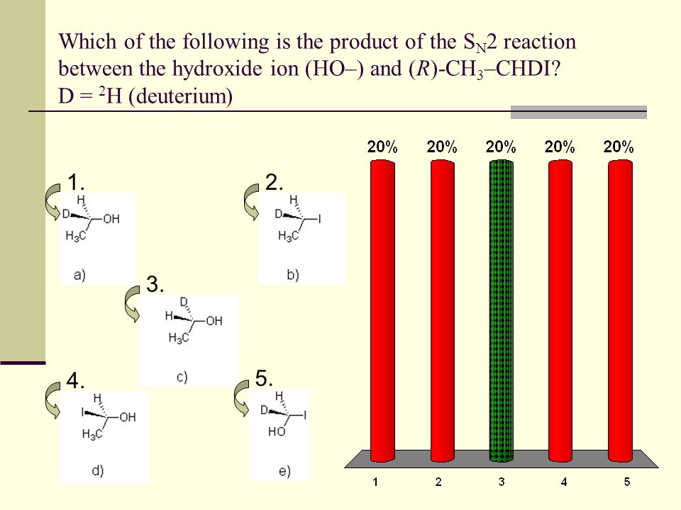 Which of the following is the product of the S N 2 reaction between the hydroxide ion (HO–) and (R)-CH 3 –CHDI? D = 2 H (deuterium) 1.2. 3. 4. 5.