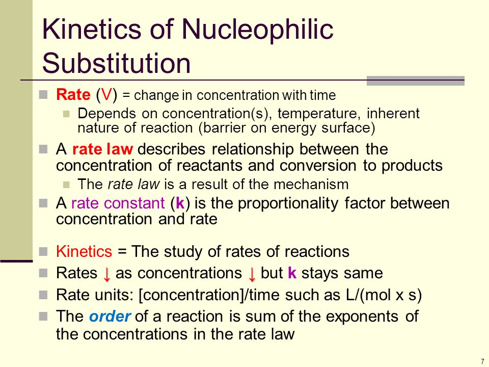 8 11.2 The S N 2 Reaction Reaction is with inversion at reacting center Follows second order reaction kinetics Ingold nomenclature to describe characteristic step: S=substitution; N (subscript) = nucleophilic; 2 = both nucleophile and substrate in characteristic step (bimolecular) Rate = k [CH 3 -Br] [HO - ] Rate is dependant on both Nucleophile & Substrate