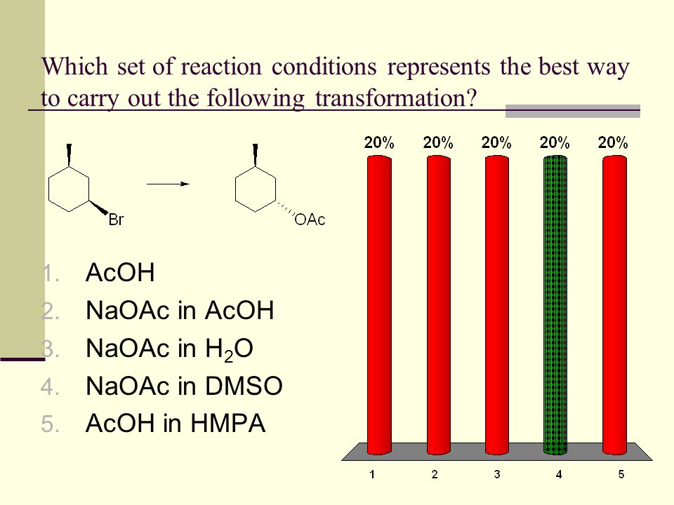 Which set of reaction conditions represents the best way to carry out the following transformation? 1. AcOH 2. NaOAc in AcOH 3. NaOAc in H 2 O 4. NaOA