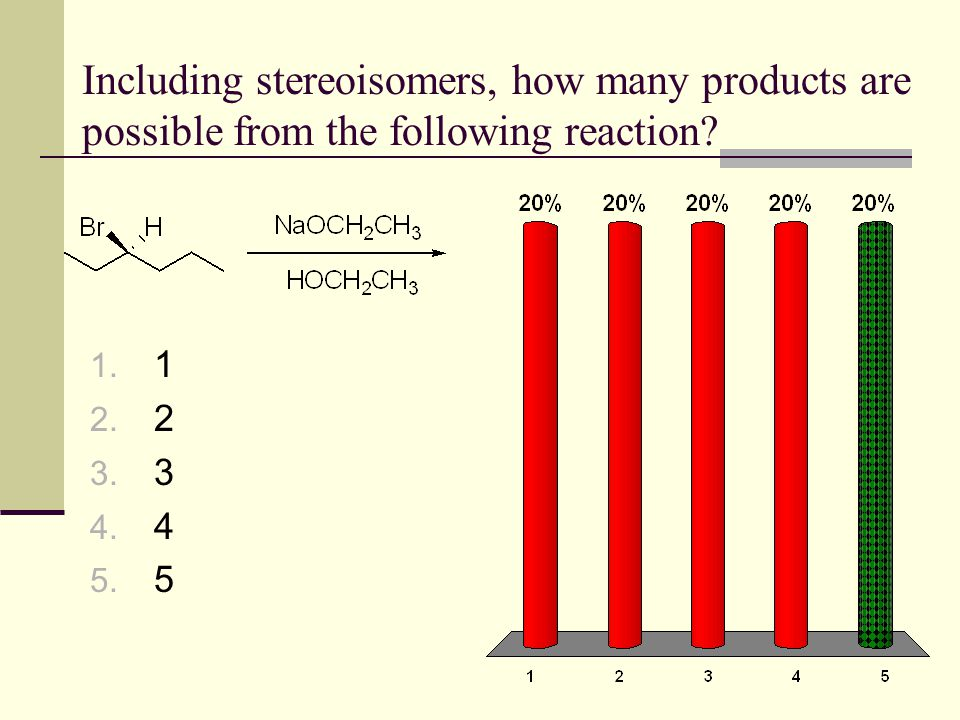 Including stereoisomers, how many products are possible from the following reaction? 1. 1 2. 2 3. 3 4. 4 5. 5