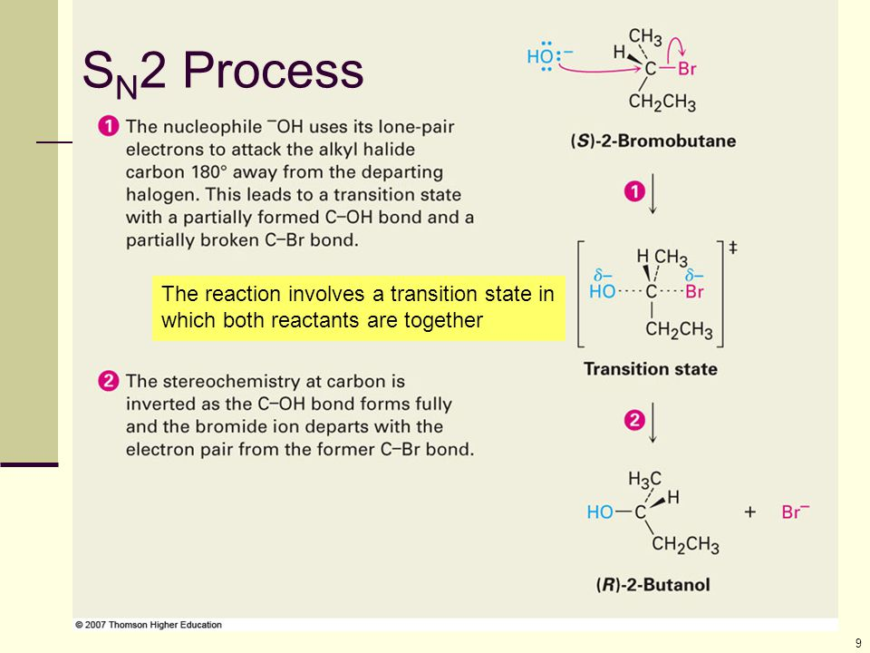 10 S N 2 Transition State The transition state of an S N 2 reaction has a planar arrangement of the carbon atom and the remaining three groups