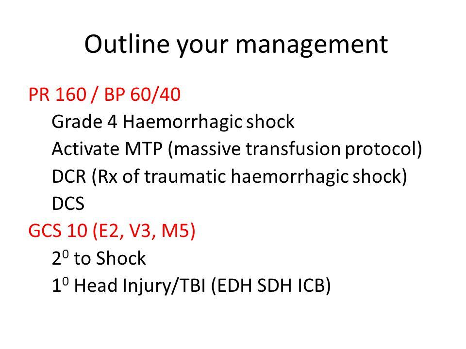 Outline your management PR 160 / BP 60/40 Grade 4 Haemorrhagic shock Activate MTP (massive transfusion protocol) DCR (Rx of traumatic haemorrhagic shock) DCS GCS 10 (E2, V3, M5) 2 0 to Shock 1 0 Head Injury/TBI (EDH SDH ICB)