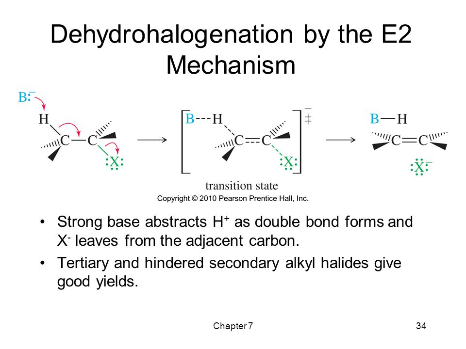 Chapter 734 Dehydrohalogenation by the E2 Mechanism Strong base abstracts H + as double bond forms and X - leaves from the adjacent carbon. Tertiary a