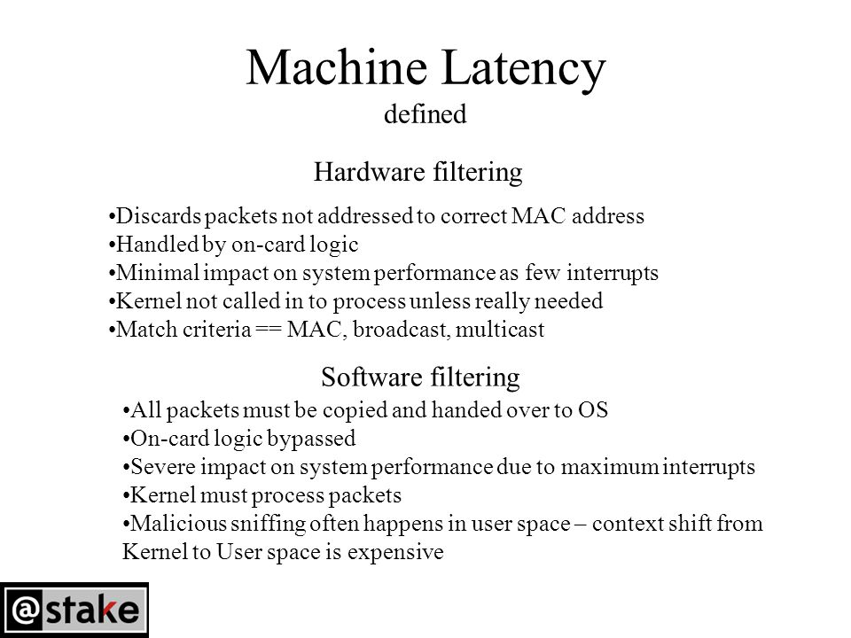 Machine Latency defined Hardware filtering Discards packets not addressed to correct MAC address Handled by on-card logic Minimal impact on system performance as few interrupts Kernel not called in to process unless really needed Match criteria == MAC, broadcast, multicast Software filtering All packets must be copied and handed over to OS On-card logic bypassed Severe impact on system performance due to maximum interrupts Kernel must process packets Malicious sniffing often happens in user space – context shift from Kernel to User space is expensive