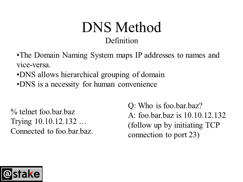 DNS Method Definition The Domain Naming System maps IP addresses to names and vice-versa.