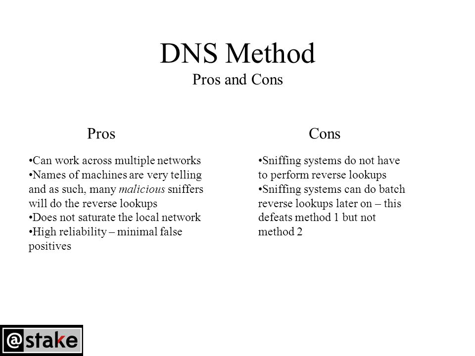 DNS Method Pros and Cons Can work across multiple networks Names of machines are very telling and as such, many malicious sniffers will do the reverse lookups Does not saturate the local network High reliability – minimal false positives Sniffing systems do not have to perform reverse lookups Sniffing systems can do batch reverse lookups later on – this defeats method 1 but not method 2 ProsCons