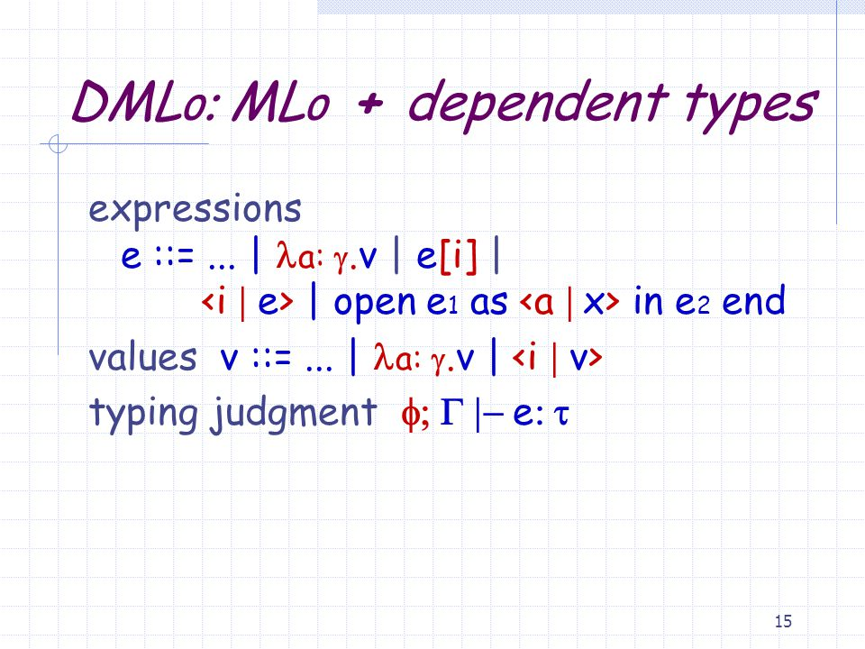 14 Dependent Types dependent types  ::=... |  (i) |  a: .