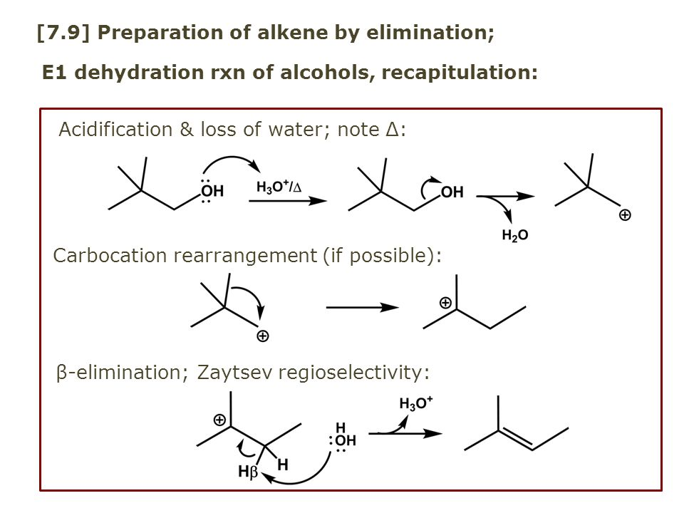 [7.9] Preparation of alkene by elimination; E1 dehydration rxn of alcohols, recapitulation: Carbocation rearrangement (if possible): Acidification & l