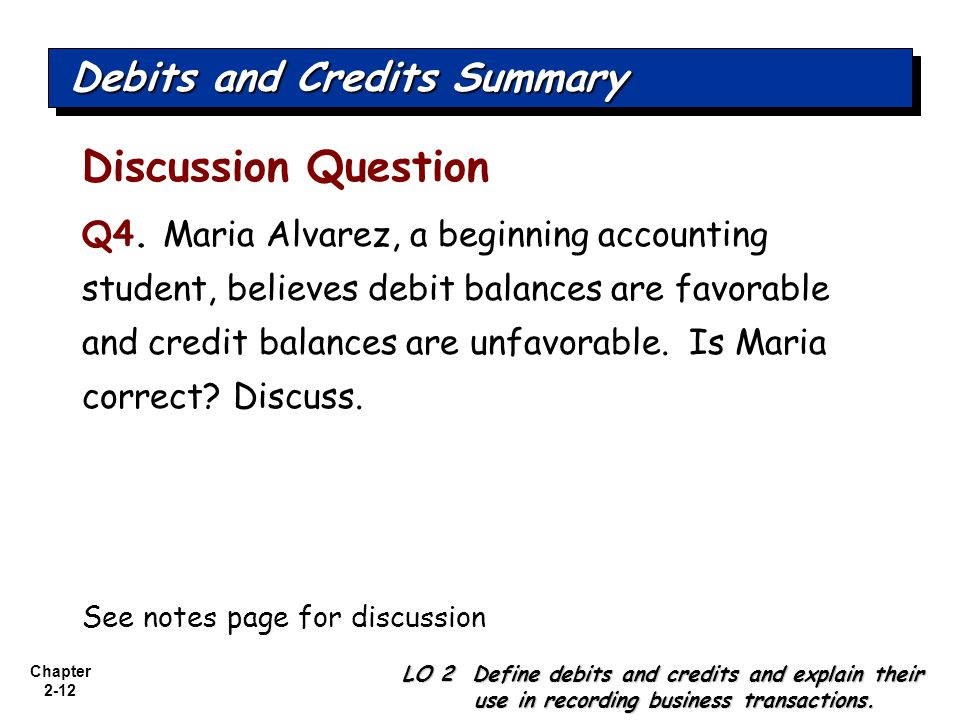 Chapter 2-12 Discussion Question Q4. Maria Alvarez, a beginning accounting student, believes debit balances are favorable and credit balances are unfa