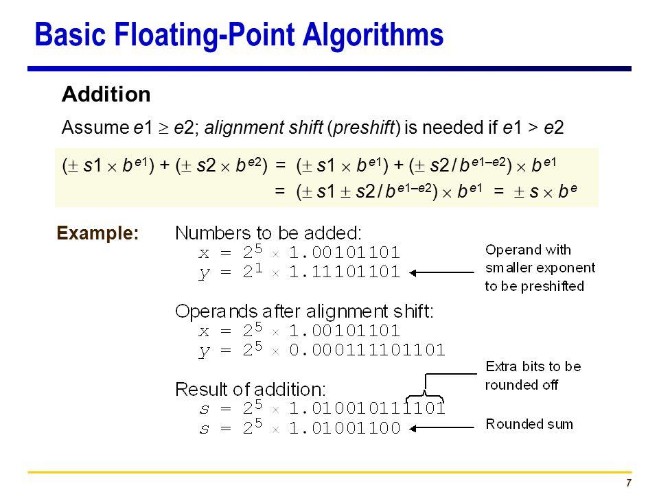 7 (  s1  b e1 ) + (  s2  b e2 ) = (  s1  b e1 ) + (  s2 / b e1–e2 )  b e1 = (  s1  s2 / b e1–e2 )  b e1 =  s  b e Assume e1  e2; alignment shift (preshift) is needed if e1 > e2 Example: Addition Basic Floating-Point Algorithms