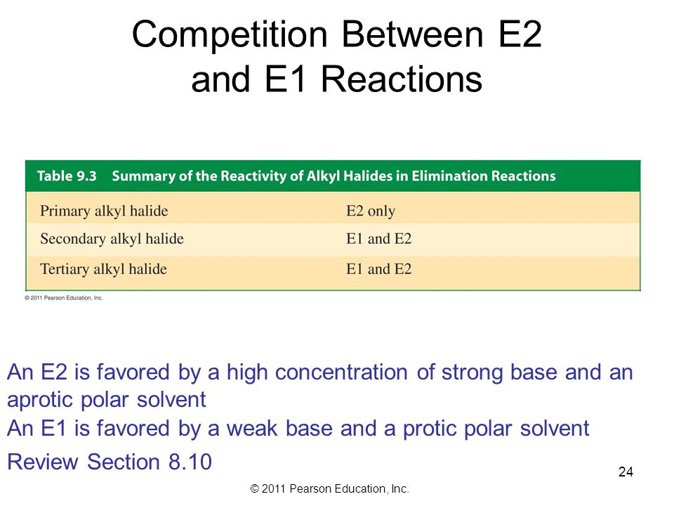© 2011 Pearson Education, Inc. Because the E1 reaction forms a carbocation intermediate, we need to consider carbocation rearrangement 23