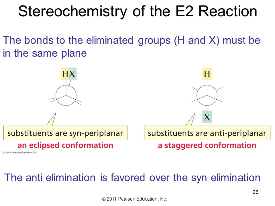 © 2011 Pearson Education, Inc. Competition Between E2 and E1 Reactions An E2 is favored by a high concentration of strong base and an aprotic polar so