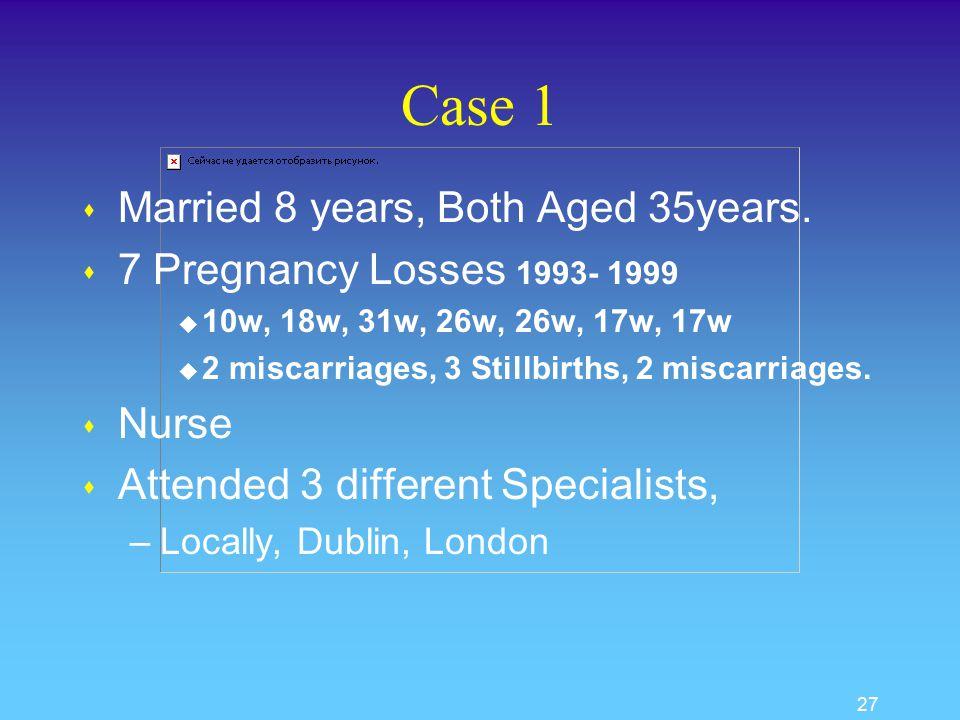 26 Case Presentations 1. Case 1 2. Case 2 3. Case 3