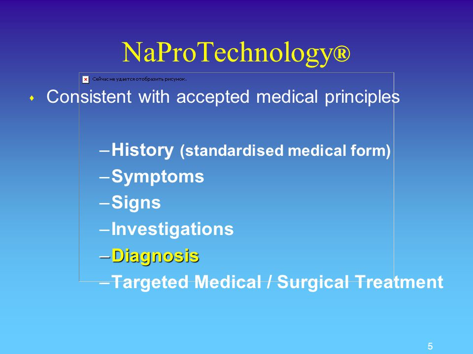 5 NaProTechnology ® s Consistent with accepted medical principles –History (standardised medical form) –Symptoms –Signs –Investigations –Diagnosis –Targeted Medical / Surgical Treatment