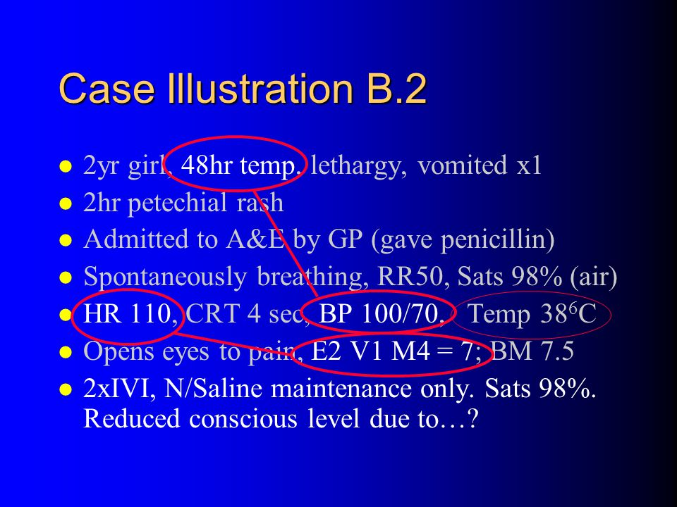 Case Illustration B.2 2yr girl, 48hr temp, lethargy, vomited x1 2hr petechial rash Admitted to A&E by GP (gave penicillin) Spontaneously breathing, RR50, Sats 98% (air) HR 110, CRT 4 sec, BP 100/70, Temp 38 6 C Opens eyes to pain, E2 V1 M4 = 7; BM 7.5 2xIVI, N/Saline maintenance only.