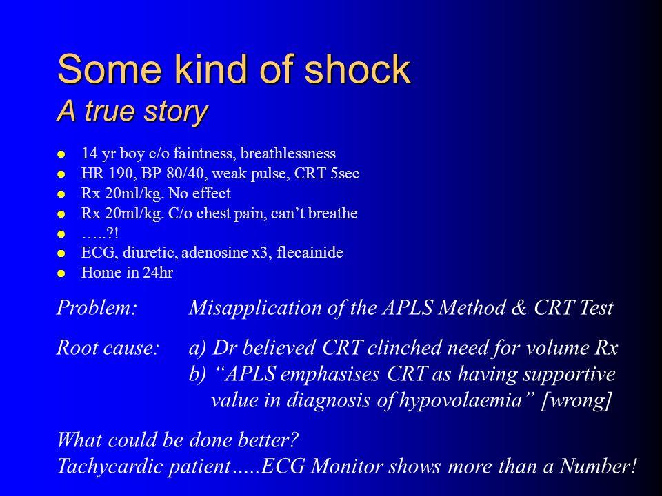 Some kind of shock A true story 14 yr boy c/o faintness, breathlessness HR 190, BP 80/40, weak pulse, CRT 5sec Rx 20ml/kg.