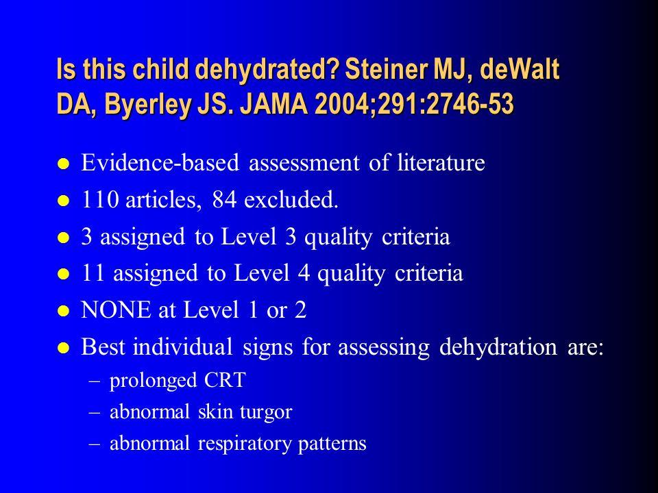 Is this child dehydrated. Steiner MJ, deWalt DA, Byerley JS.