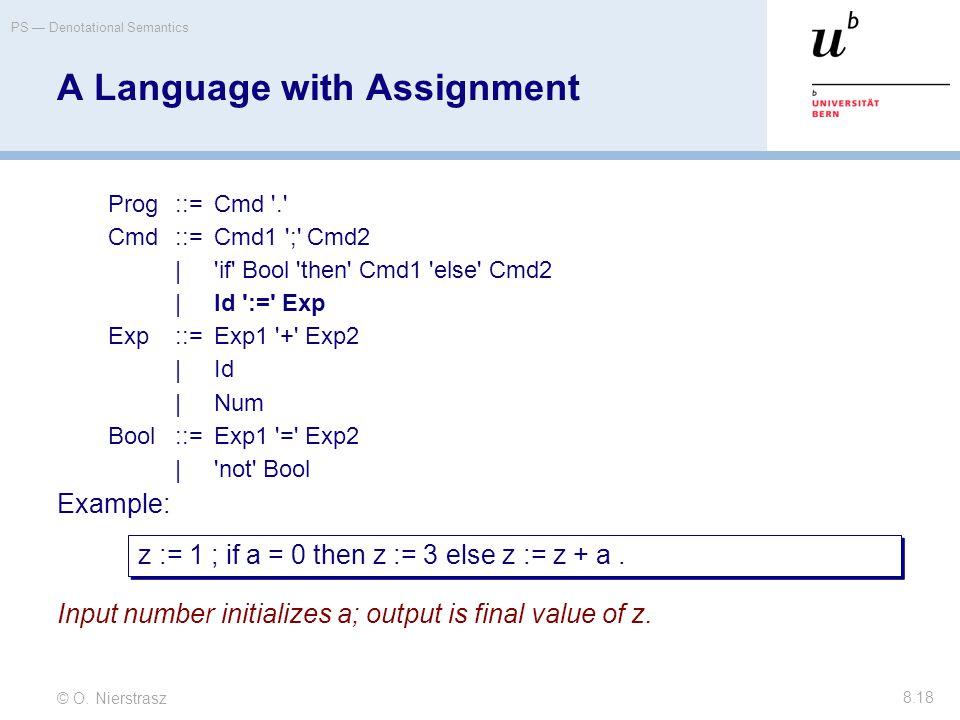 © O. Nierstrasz PS — Denotational Semantics 8.18 A Language with Assignment Prog::=Cmd '.' Cmd::=Cmd1 ';' Cmd2 |'if' Bool 'then' Cmd1 'else' Cmd2 |Id