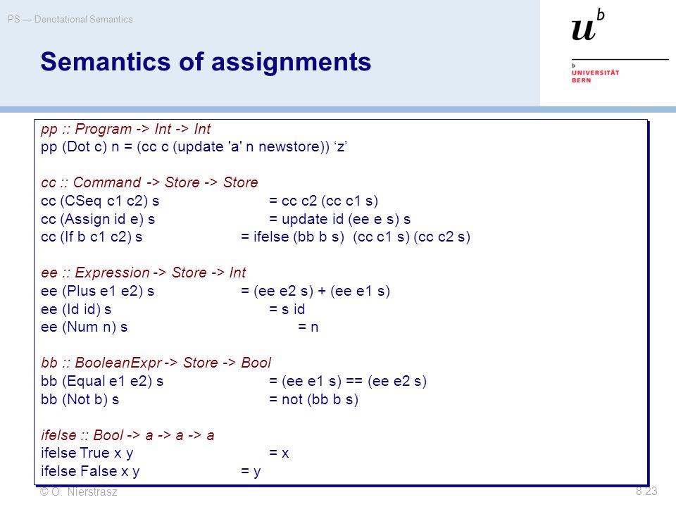 © O. Nierstrasz PS — Denotational Semantics 8.23 Semantics of assignments pp :: Program -> Int -> Int pp (Dot c) n = (cc c (update 'a' n newstore)) 'z