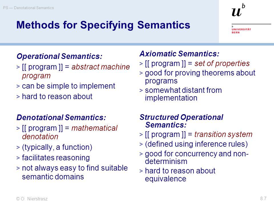 © O. Nierstrasz PS — Denotational Semantics 8.7 Methods for Specifying Semantics Operational Semantics:  [[ program ]] = abstract machine program  c