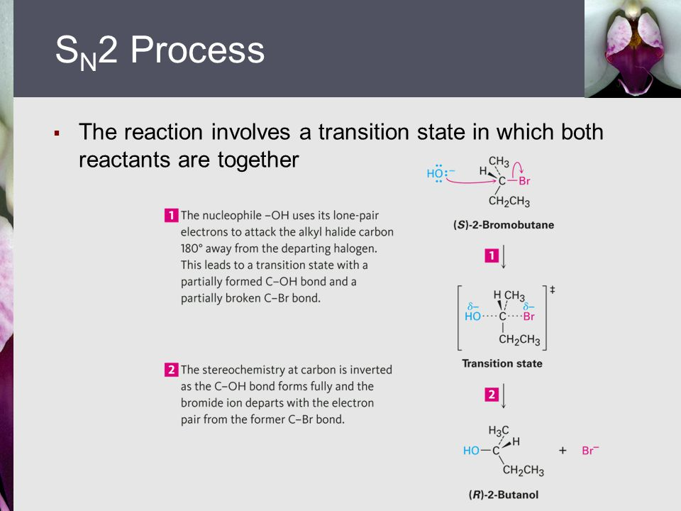  The reaction involves a transition state in which both reactants are together S N 2 Process