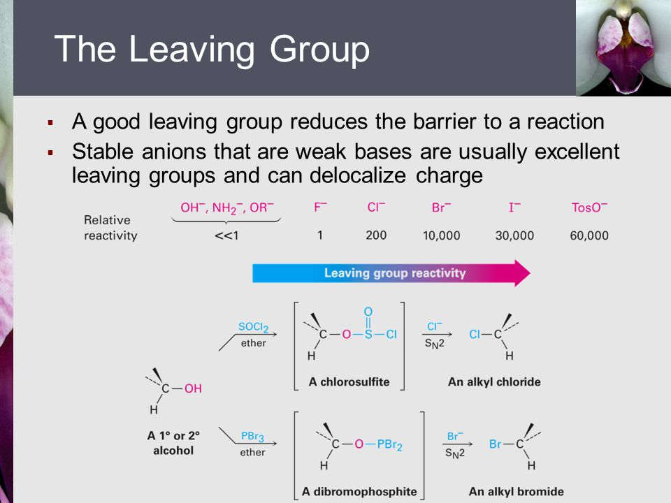  A good leaving group reduces the barrier to a reaction  Stable anions that are weak bases are usually excellent leaving groups and can delocalize c