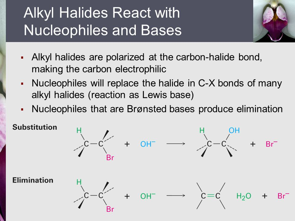  Alkyl halides are polarized at the carbon-halide bond, making the carbon electrophilic  Nucleophiles will replace the halide in C-X bonds of many a
