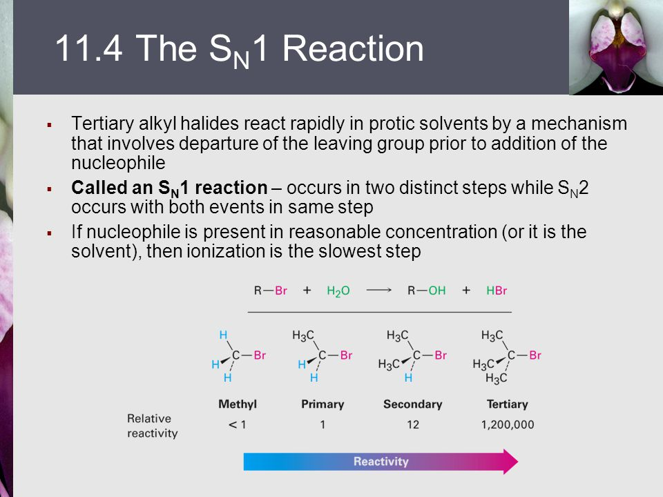  Tertiary alkyl halides react rapidly in protic solvents by a mechanism that involves departure of the leaving group prior to addition of the nucleop