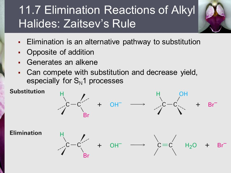  Elimination is an alternative pathway to substitution  Opposite of addition  Generates an alkene  Can compete with substitution and decrease yiel