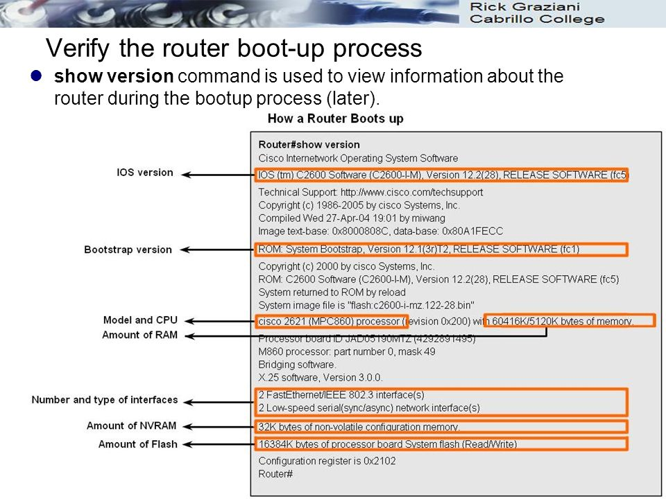 21 Verify the router boot-up process show version command is used to view information about the router during the bootup process (later).