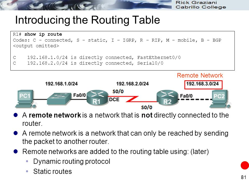 81 Introducing the Routing Table A remote network is a network that is not directly connected to the router. A remote network is a network that can on