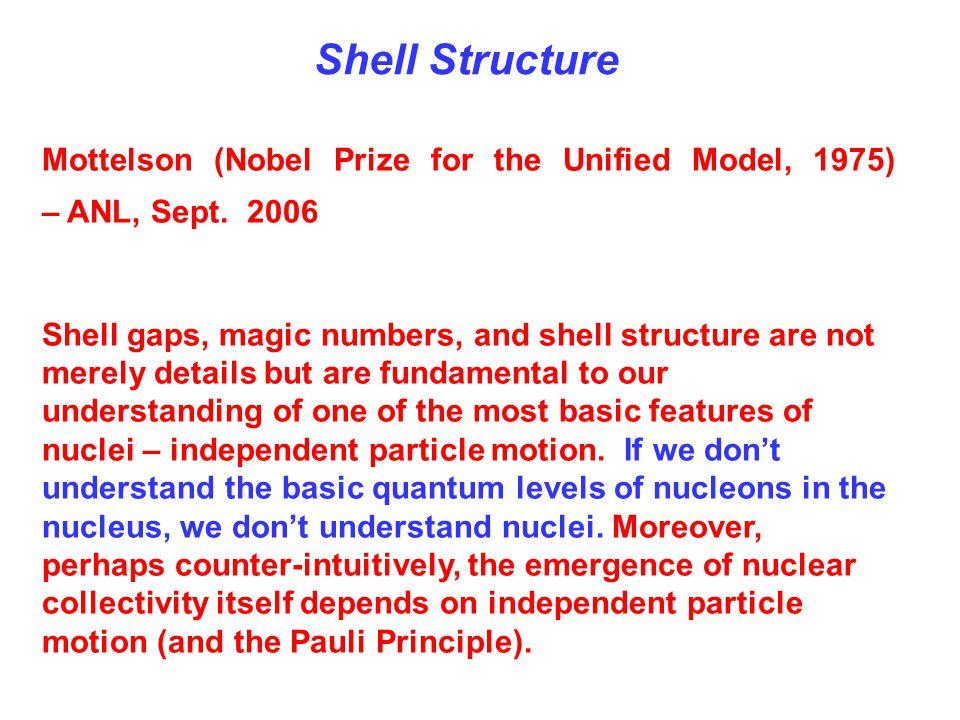 Mottelson (Nobel Prize for the Unified Model, 1975) – ANL, Sept.
