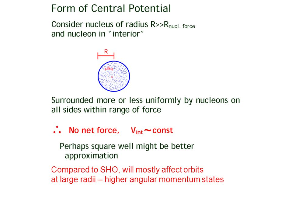 ~ Compared to SHO, will mostly affect orbits at large radii – higher angular momentum states