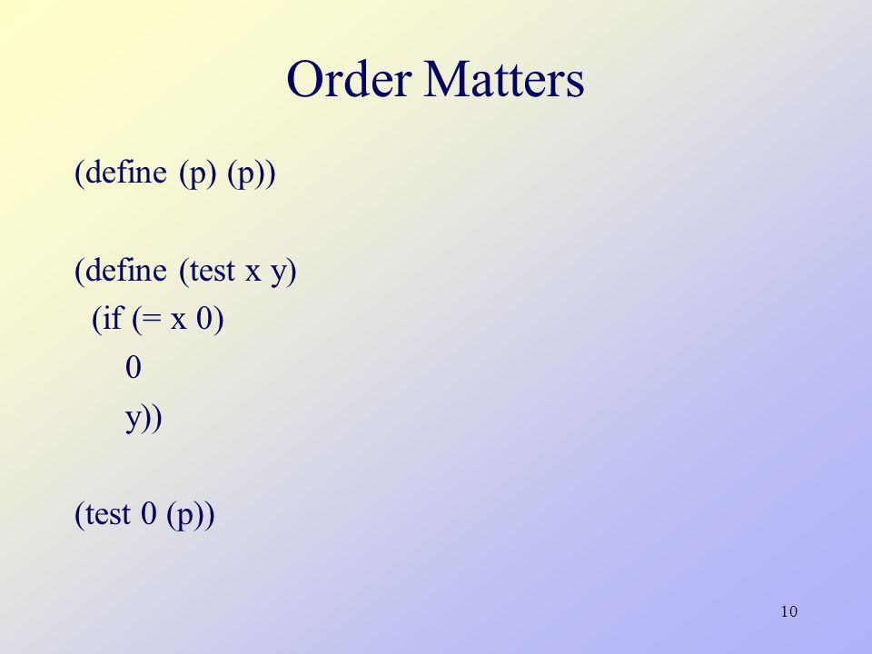 10 Order Matters (define (p) (p)) (define (test x y) (if (= x 0) 0 y)) (test 0 (p))