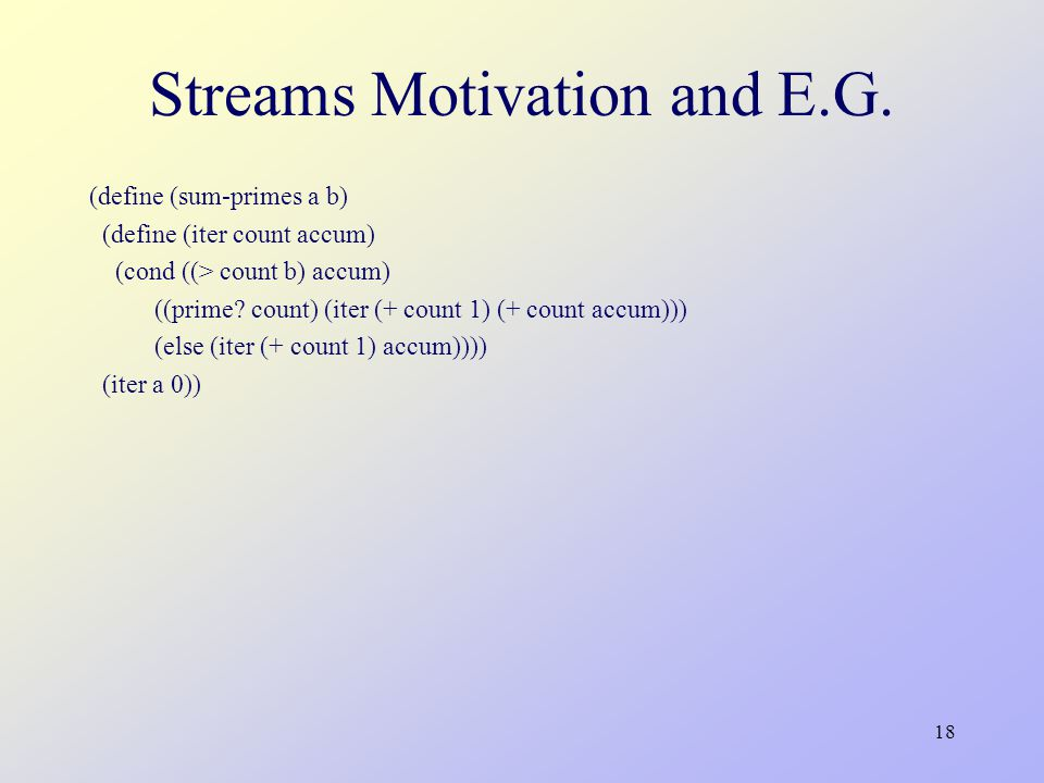 18 Streams Motivation and E.G.