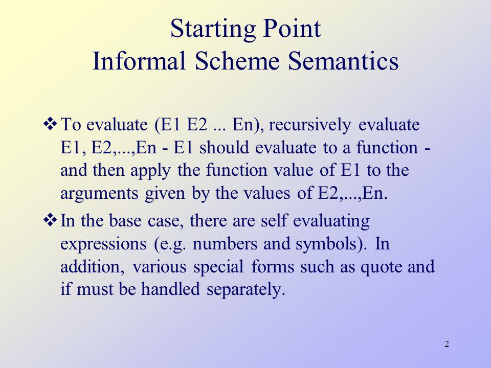 2 Starting Point Informal Scheme Semantics  To evaluate (E1 E2... En), recursively evaluate E1, E2,...,En - E1 should evaluate to a function - and th