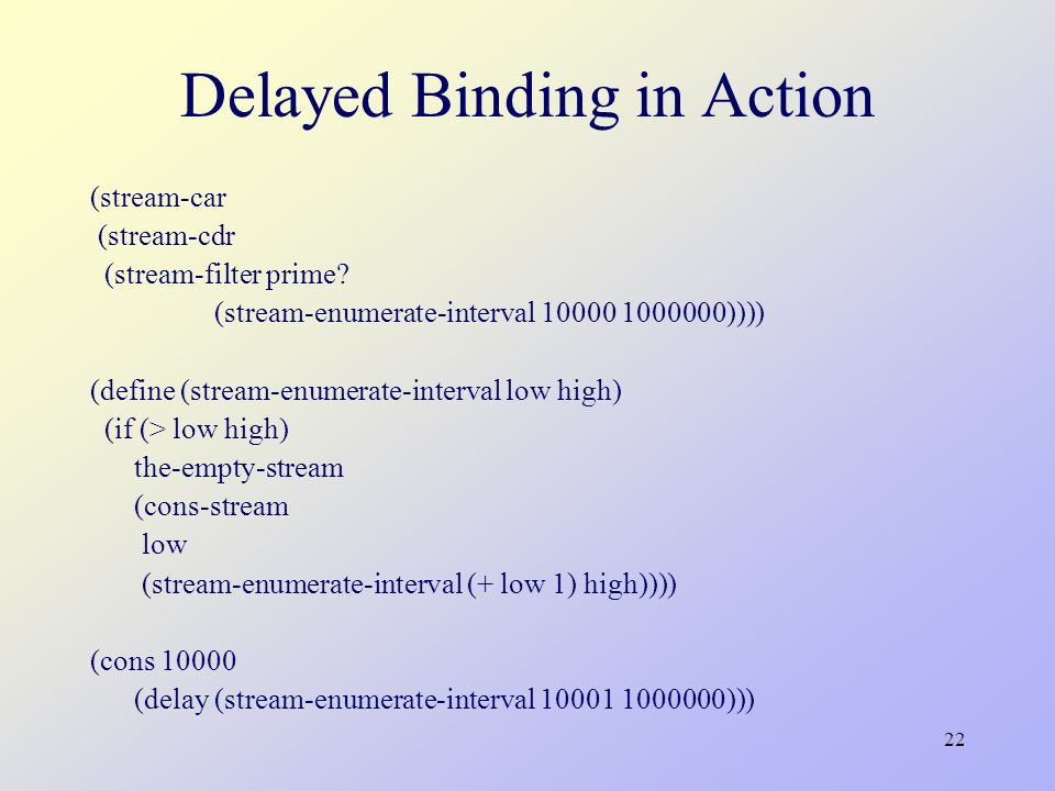 22 Delayed Binding in Action (stream-car (stream-cdr (stream-filter prime.