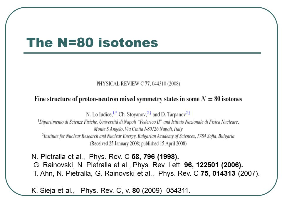 The N=80 isotones N.Pietralla et al., Phys. Rev. C 58, 796 (1998).
