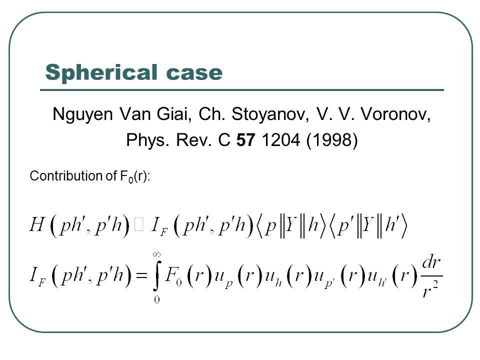 Spherical case Nguyen Van Giai, Ch. Stoyanov, V. V.