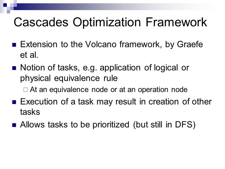 Cascades Optimization Framework Extension to the Volcano framework, by Graefe et al. Notion of tasks, e.g. application of logical or physical equivale
