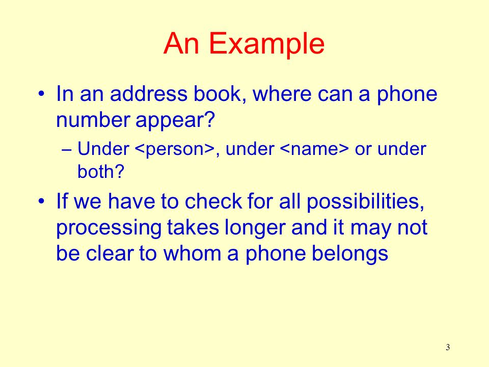 3 An Example In an address book, where can a phone number appear? –Under, under or under both? If we have to check for all possibilities, processing t