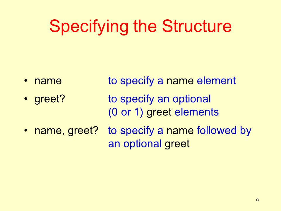 6 Specifying the Structure name to specify a name element greet.