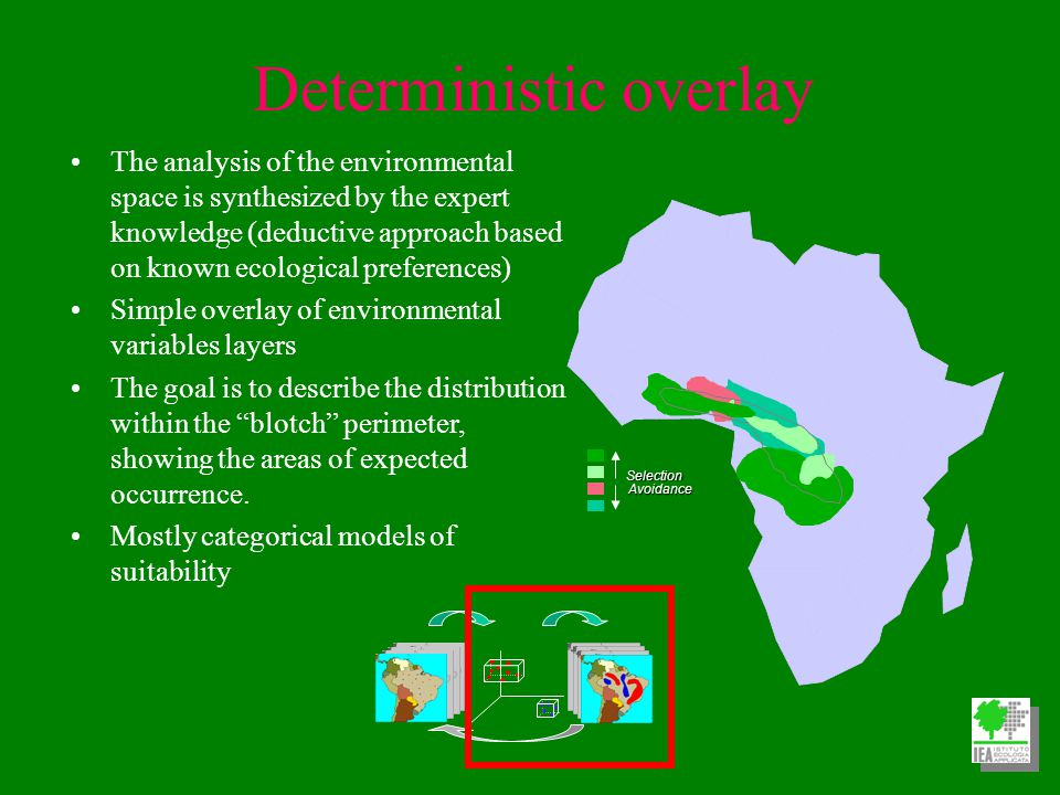 Deterministic overlay The analysis of the environmental space is synthesized by the expert knowledge (deductive approach based on known ecological preferences) Simple overlay of environmental variables layers The goal is to describe the distribution within the blotch perimeter, showing the areas of expected occurrence.
